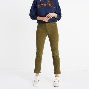 Madewell Classic Straight Green Corduroy Pants 32